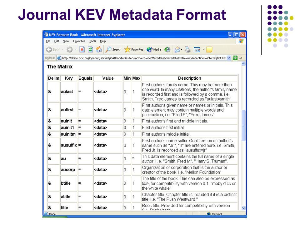 Journal KEV Metadata Format