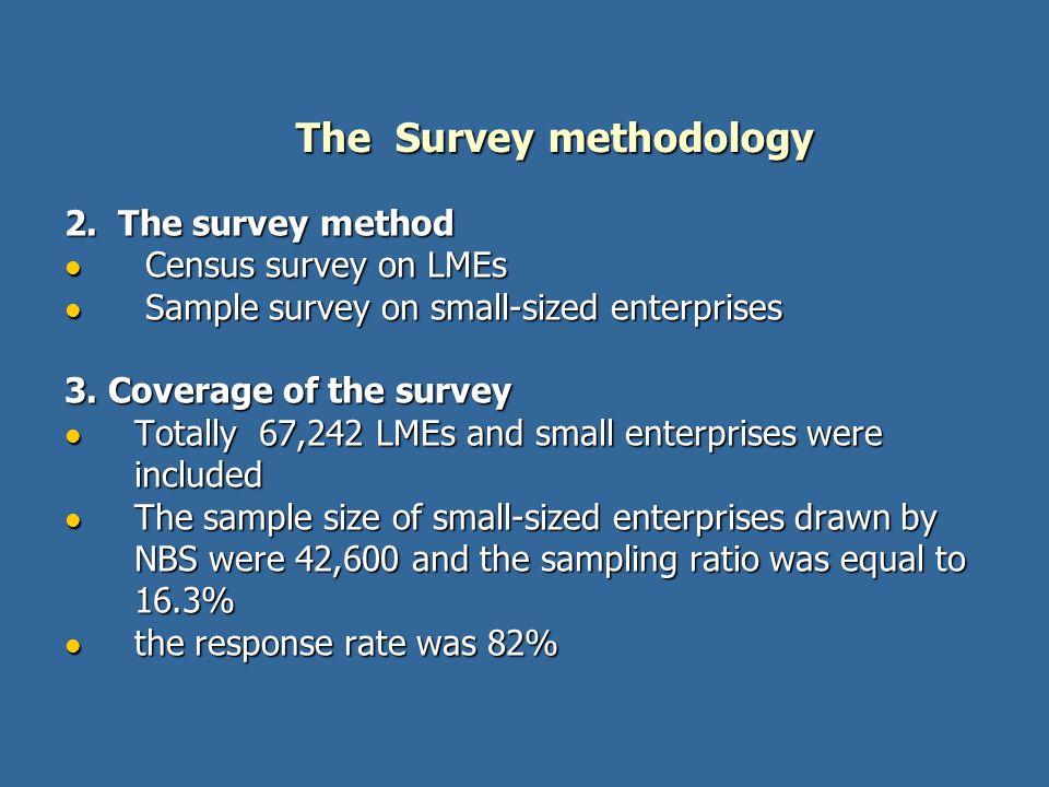 2. The survey method Census survey on LMEs Census survey on LMEs Sample survey on small-sized enterprises Sample survey on small-sized enterprises 3.