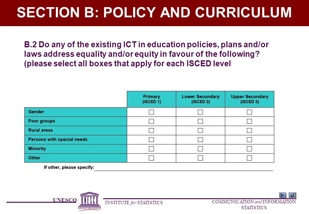 UNESCO INSTITUTE for STATISTICS COMMUNICATION and INFORMATION STATISTICS SECTION B: POLICY AND CURRICULUM B.2 Do any of the existing ICT in education policies, plans and/or laws address equality and/or equity in favour of the following.