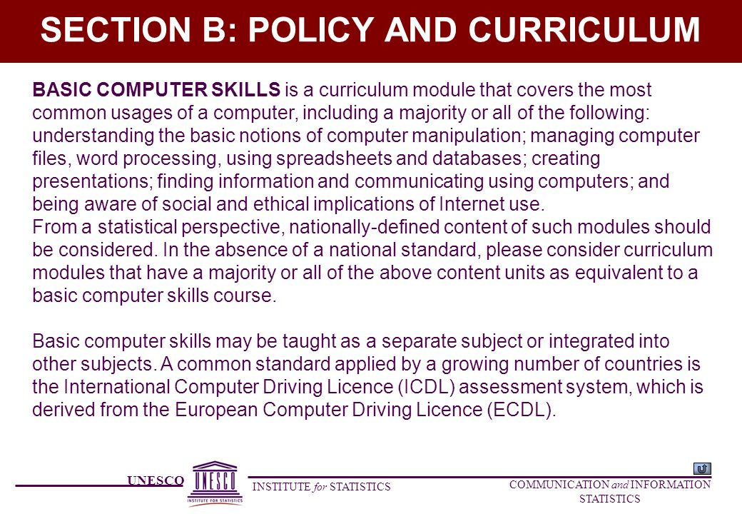 UNESCO INSTITUTE for STATISTICS COMMUNICATION and INFORMATION STATISTICS SECTION B: POLICY AND CURRICULUM BASIC COMPUTER SKILLS is a curriculum module that covers the most common usages of a computer, including a majority or all of the following: understanding the basic notions of computer manipulation; managing computer files, word processing, using spreadsheets and databases; creating presentations; finding information and communicating using computers; and being aware of social and ethical implications of Internet use.