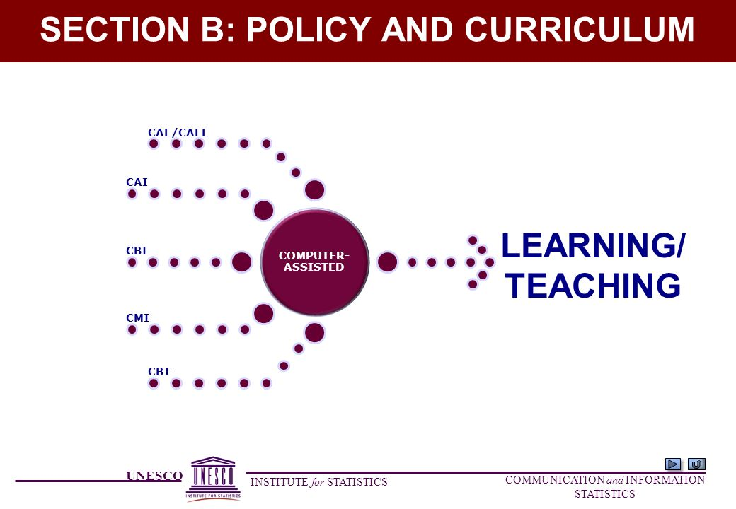 UNESCO INSTITUTE for STATISTICS COMMUNICATION and INFORMATION STATISTICS SECTION B: POLICY AND CURRICULUM LEARNING COMPUTER- ASSISTED CAL/CALL CAI CBI CMI CBT LEARNING/ TEACHING
