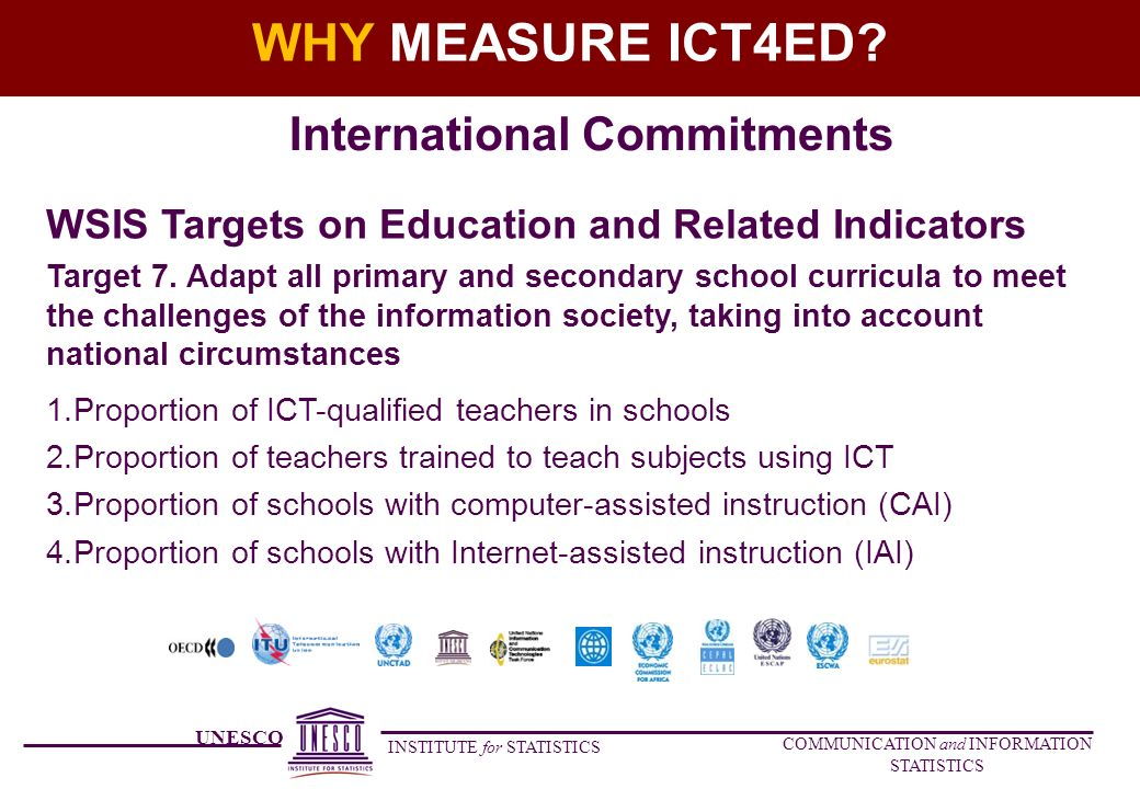 UNESCO INSTITUTE for STATISTICS COMMUNICATION and INFORMATION STATISTICS WHY MEASURE ICT4ED.