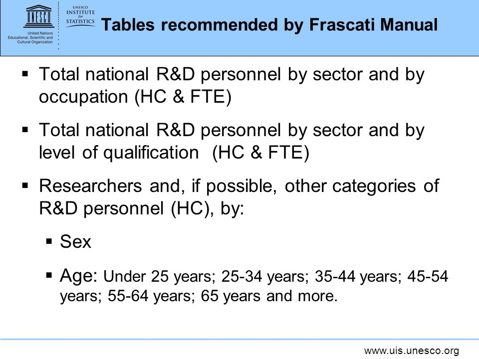 www.uis.unesco.org Tables recommended by Frascati Manual Total national R&D personnel by sector and by occupation (HC & FTE) Total national R&D person