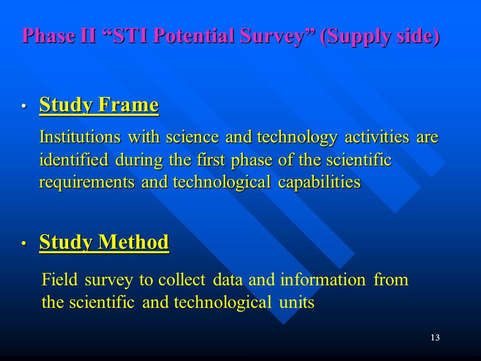 Phase II STI Potential Survey (Supply side) 13 Study Frame Study Frame Institutions with science and technology activities are identified during the f