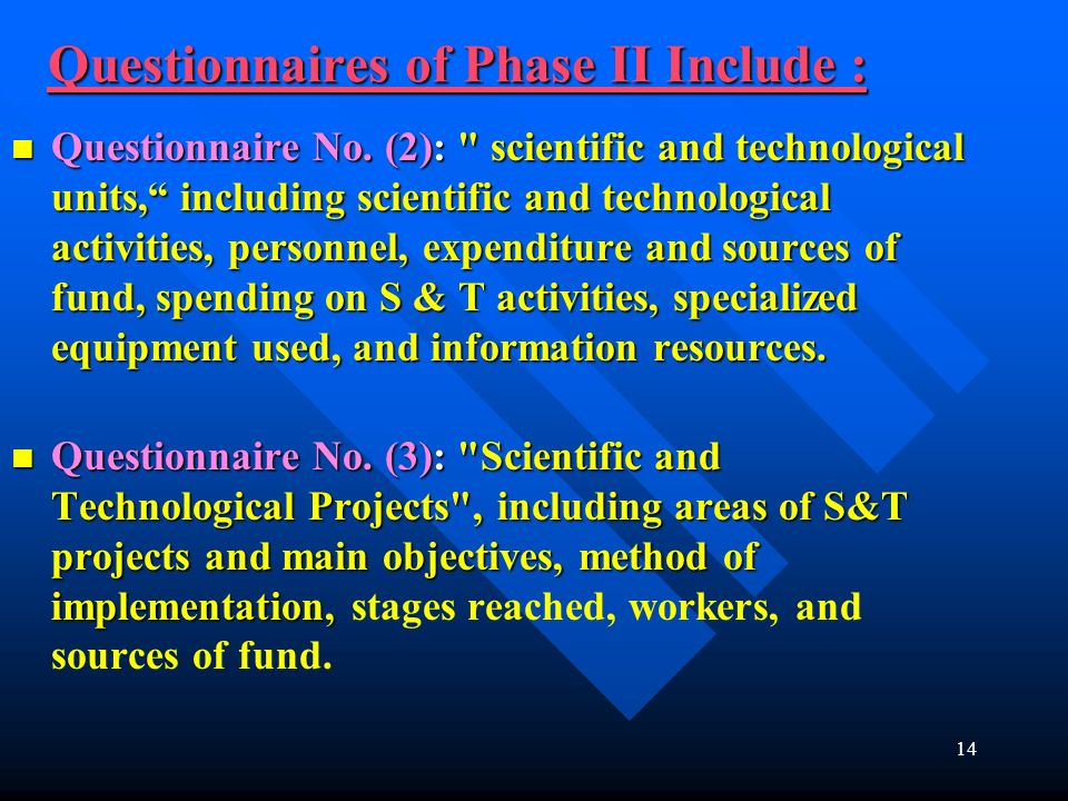 14 Questionnaires of Phase II Include : Questionnaire No. (2):
