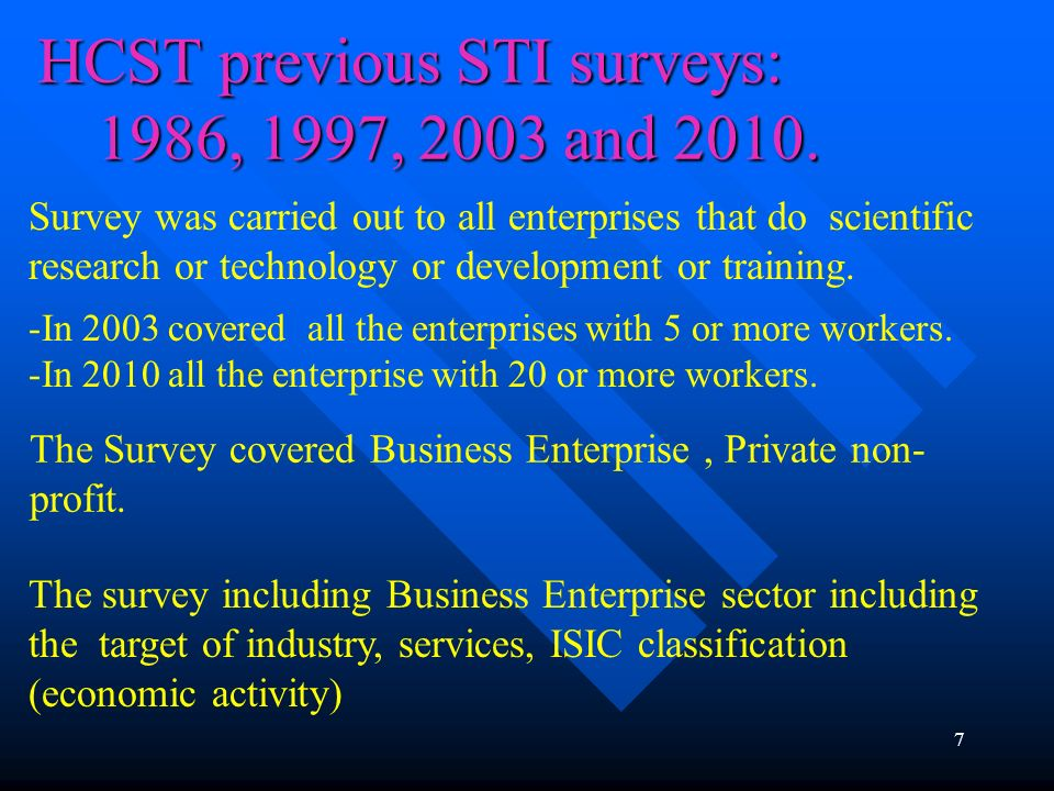 HCST previous STI surveys: 1986, 1997, 2003 and 2010. 7 Survey was carried out to all enterprises that do scientific research or technology or develop