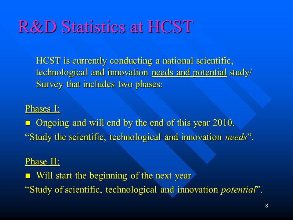 R&D Statistics at HCST HCST is currently conducting a national scientific, technological and innovation needs and potential study/ Survey that include
