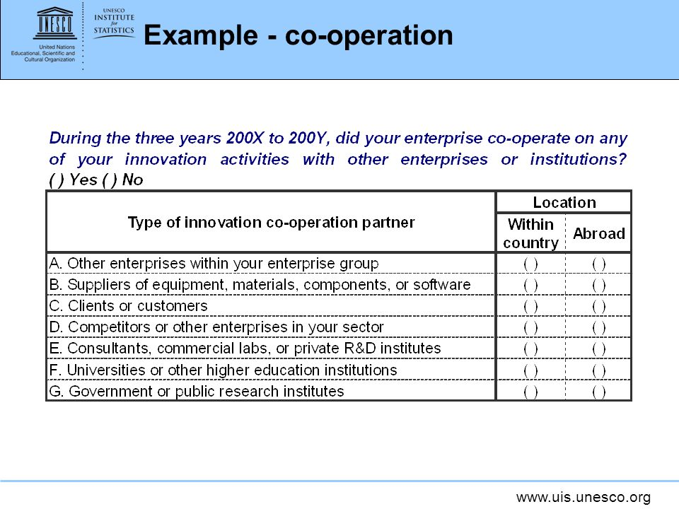 www.uis.unesco.org Example - co-operation