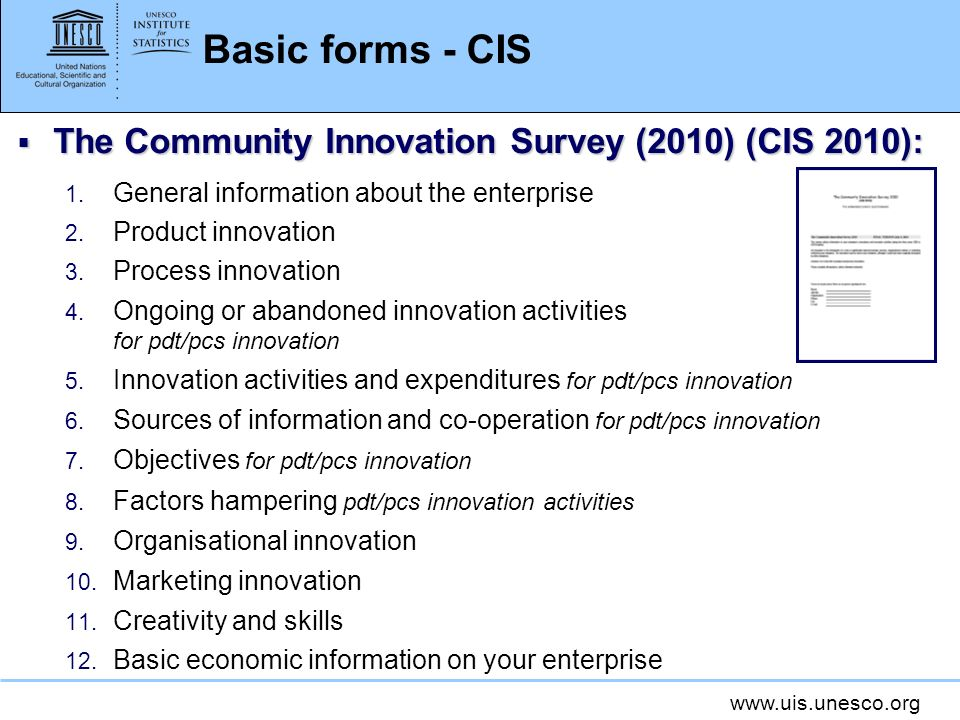 Basic forms - CIS The Community Innovation Survey (2010) (CIS 2010): The Community Innovation Survey (2010) (CIS 2010): 1.