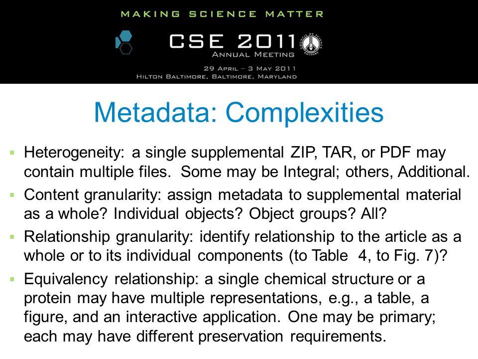 Metadata: Complexities Heterogeneity: a single supplemental ZIP, TAR, or PDF may contain multiple files.