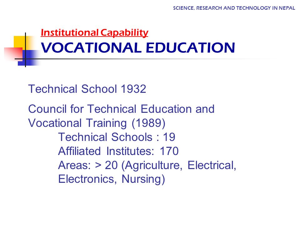 Institutional Capability VOCATIONAL EDUCATION Technical School 1932 Council for Technical Education and Vocational Training (1989) Technical Schools :