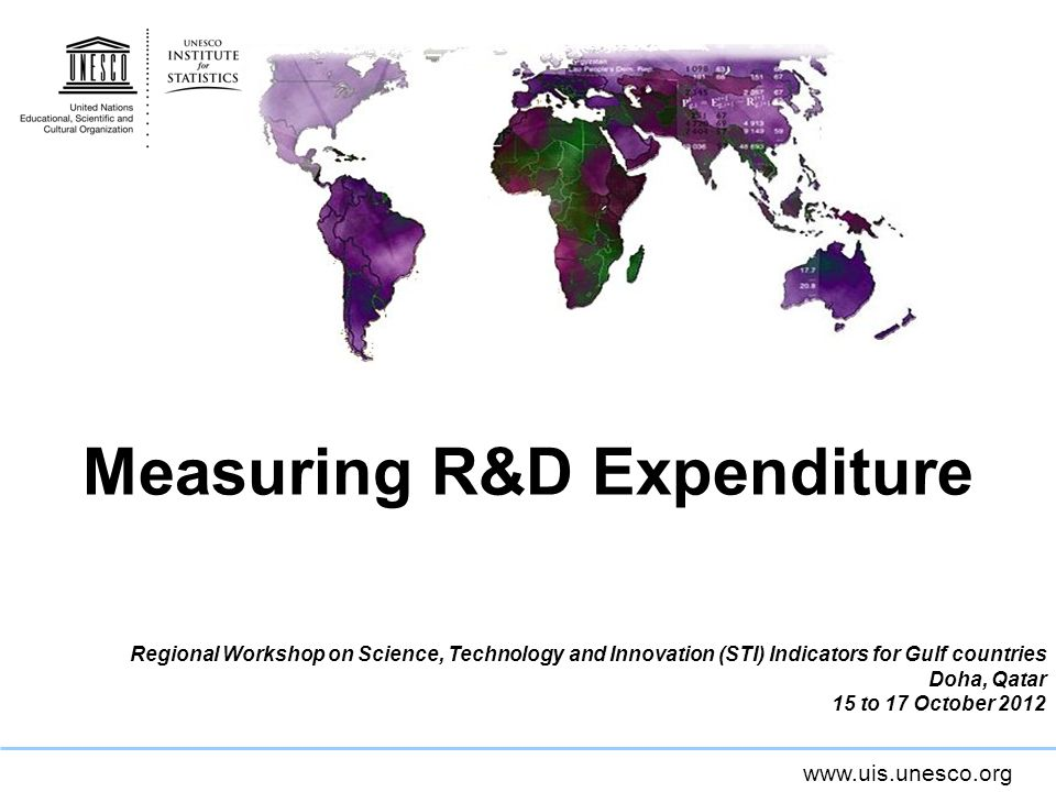www.uis.unesco.org Measuring R&D Expenditure Regional Workshop on Science, Technology and Innovation (STI) Indicators for Gulf countries Doha, Qatar 15 to 17 October 2012