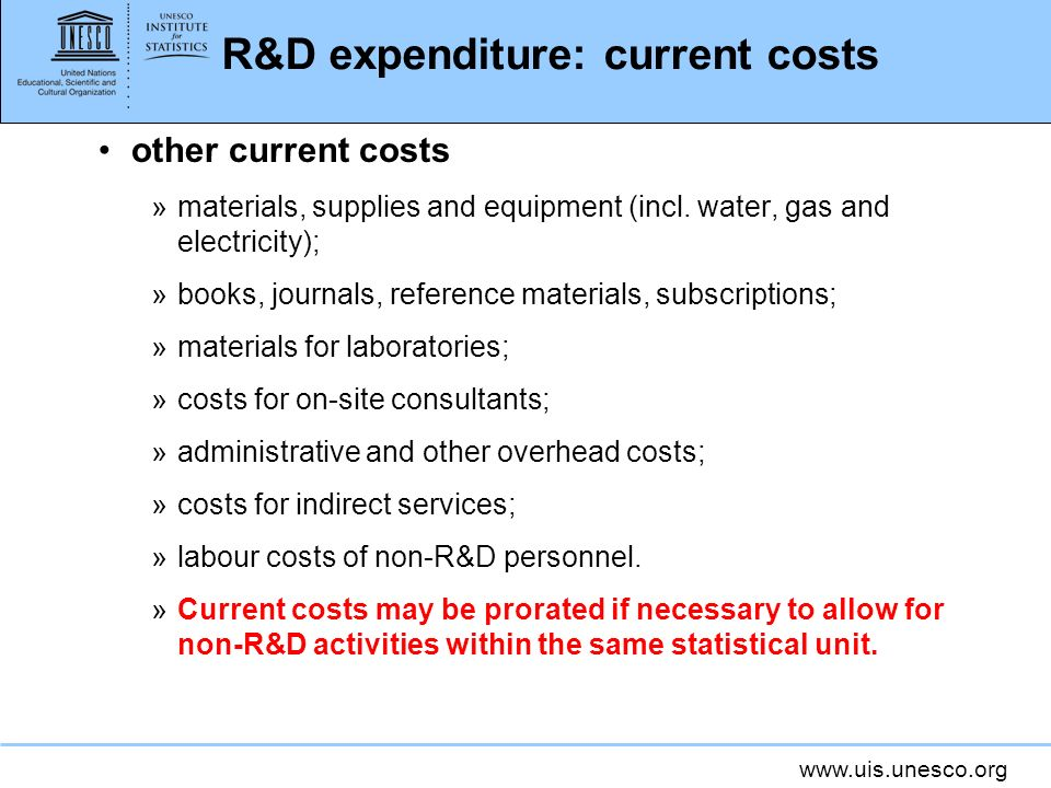 R&D expenditure: current costs other current costs »materials, supplies and equipment (incl.