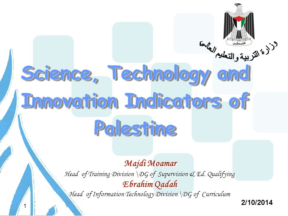 2/10/2014 1 Science, Technology and Innovation Indicators of Palestine Majdi Moamar Head of Training Division \DG of Supervision & Ed.