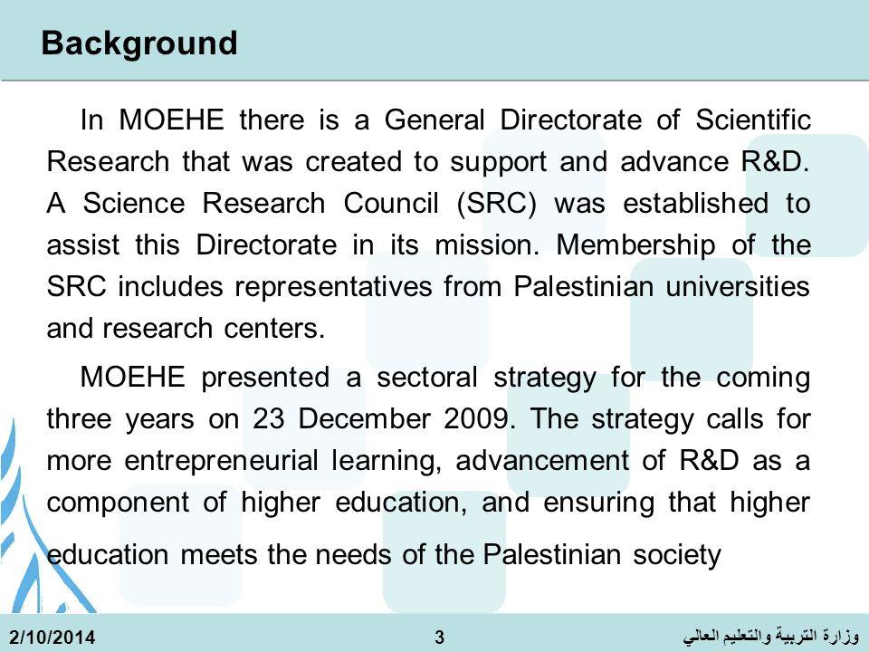 وزارة التربية والتعليم العالي 2/10/20144 METHODOLOGY 1.A UNESCO questionnaire was designed to collect data on R&D in countries with established programs.