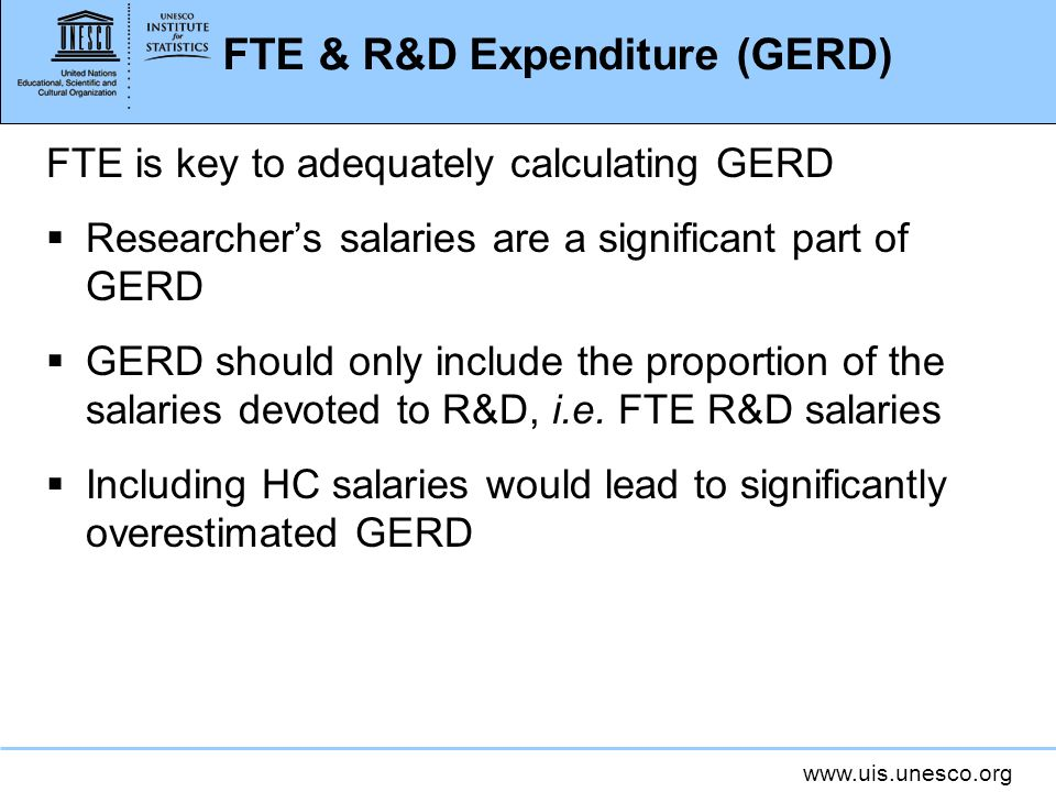 FTE & R&D Expenditure (GERD) FTE is key to adequately calculating GERD Researchers salaries are a significant part of GERD GERD should only include the proportion of the salaries devoted to R&D, i.e.