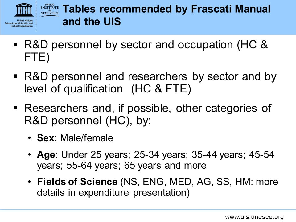 Tables recommended by Frascati Manual and the UIS R&D personnel by sector and occupation (HC & FTE) R&D personnel and researchers by sector and by level of qualification (HC & FTE) Researchers and, if possible, other categories of R&D personnel (HC), by: Sex: Male/female Age: Under 25 years; years; years; years; years; 65 years and more Fields of Science (NS, ENG, MED, AG, SS, HM: more details in expenditure presentation)