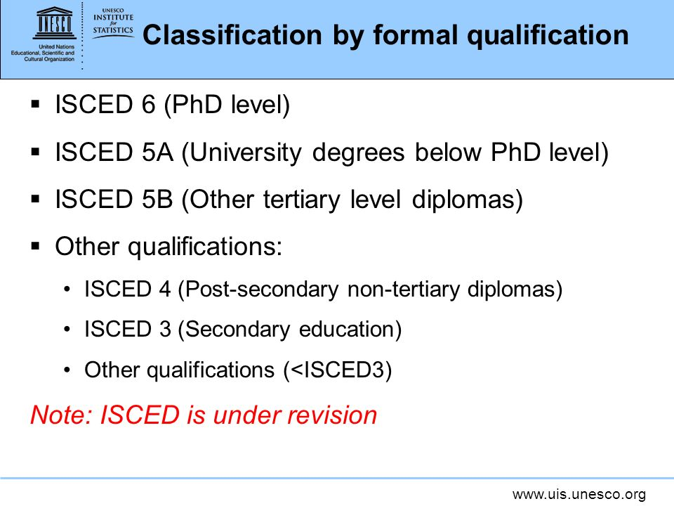 Classification by formal qualification ISCED 6 (PhD level) ISCED 5A (University degrees below PhD level) ISCED 5B (Other tertiary level diplomas) Other qualifications: ISCED 4 (Post-secondary non-tertiary diplomas) ISCED 3 (Secondary education) Other qualifications (<ISCED3) Note: ISCED is under revision