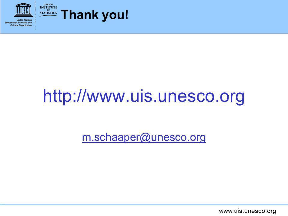 www.uis.unesco.org Thank you! http://www.uis.unesco.org m.schaaper@unesco.org