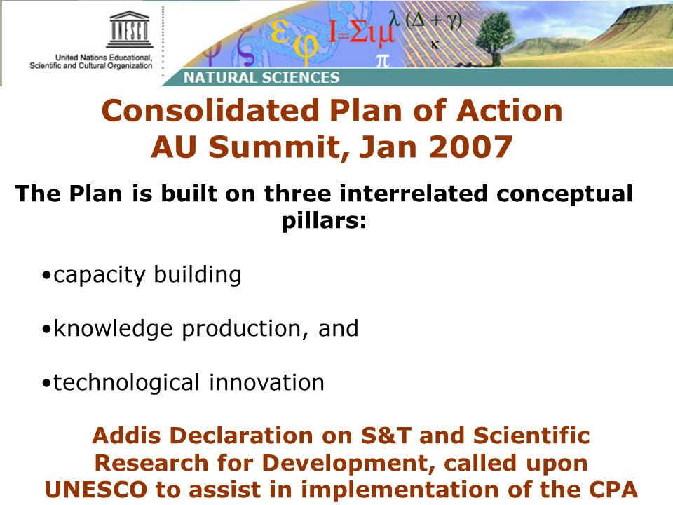 Consolidated Plan of Action AU Summit, Jan 2007 The Plan is built on three interrelated conceptual pillars: capacity building knowledge production, an