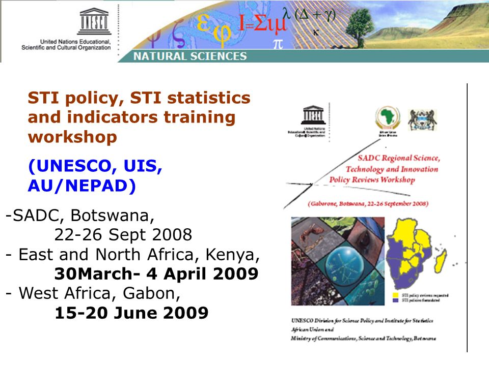 STI policy, STI statistics and indicators training workshop (UNESCO, UIS, AU/NEPAD) -SADC, Botswana, 22-26 Sept 2008 - East and North Africa, Kenya, 3