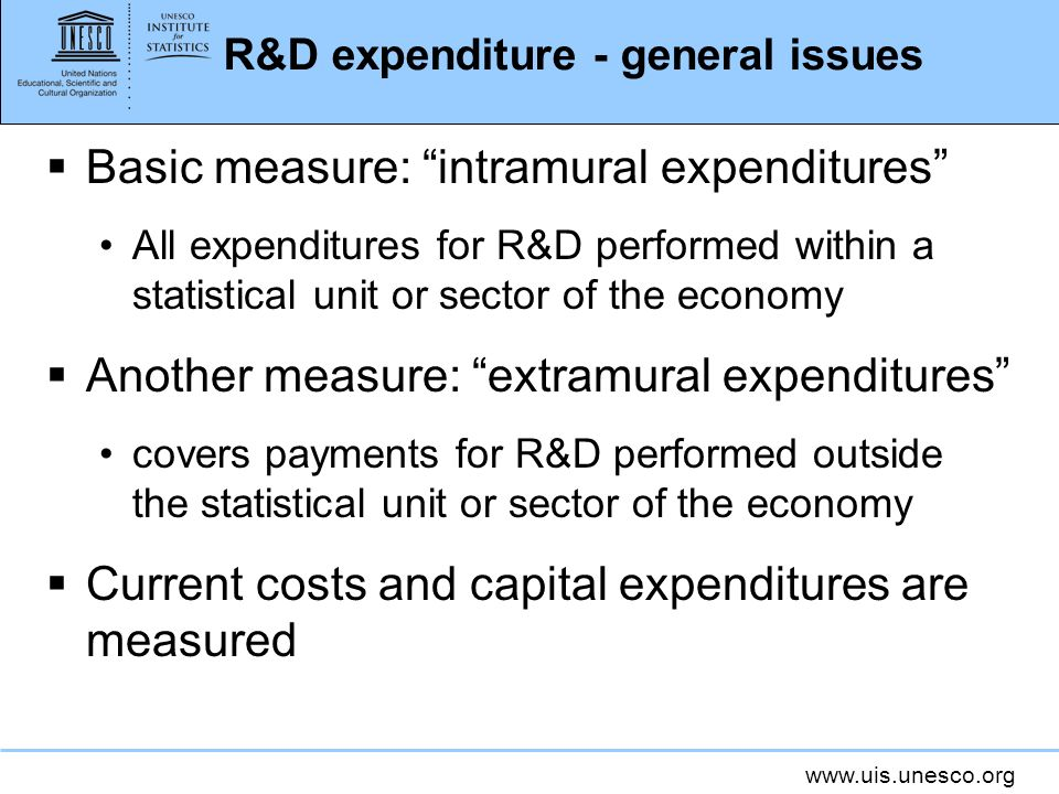 R&D expenditure - general issues Basic measure: intramural expenditures All expenditures for R&D performed within a statistical unit or sector of the economy Another measure: extramural expenditures covers payments for R&D performed outside the statistical unit or sector of the economy Current costs and capital expenditures are measured