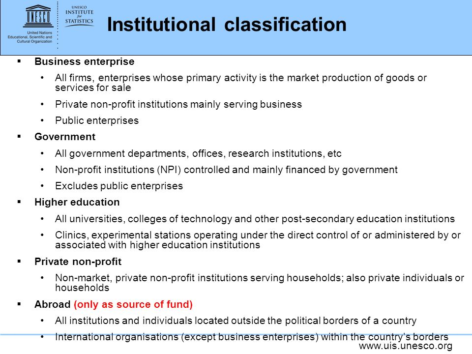 Institutional classification Business enterprise All firms, enterprises whose primary activity is the market production of goods or services for sale Private non-profit institutions mainly serving business Public enterprises Government All government departments, offices, research institutions, etc Non-profit institutions (NPI) controlled and mainly financed by government Excludes public enterprises Higher education All universities, colleges of technology and other post-secondary education institutions Clinics, experimental stations operating under the direct control of or administered by or associated with higher education institutions Private non-profit Non-market, private non-profit institutions serving households; also private individuals or households Abroad (only as source of fund) All institutions and individuals located outside the political borders of a country International organisations (except business enterprises) within the countrys borders