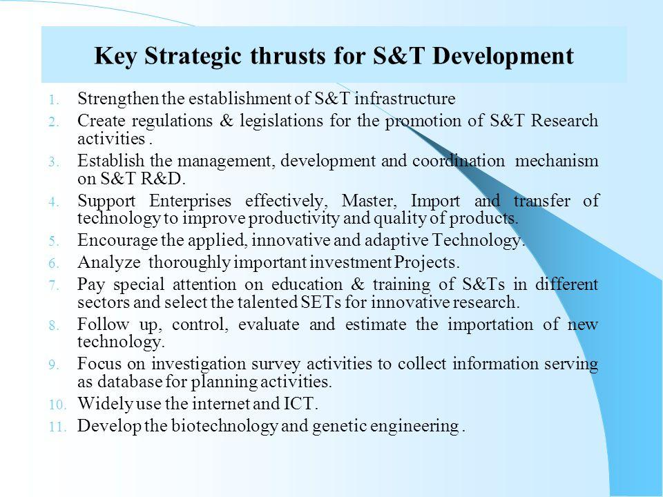 Key Strategic thrusts for S&T Development 1. Strengthen the establishment of S&T infrastructure 2. Create regulations & legislations for the promotion