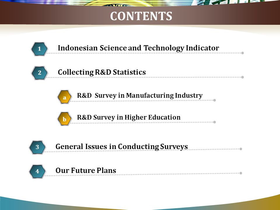 CONTENTS Collecting R&D Statistics 2 R&D Survey in Manufacturing Industry a 5 1 Our Future Plans 4 Indonesian Science and Technology Indicator 1 General Issues in Conducting Surveys 3 R&D Survey in Higher Education b