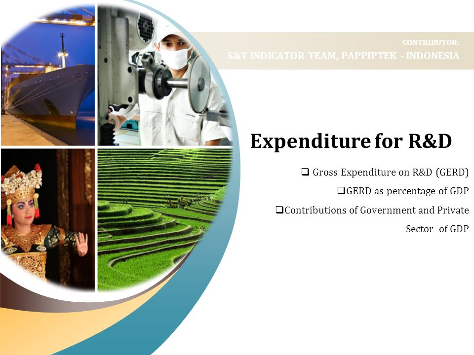 Expenditure for R&D Gross Expenditure on R&D (GERD) GERD as percentage of GDP Contributions of Government and Private Sector of GDP CONTRIBUTOR: S&T I