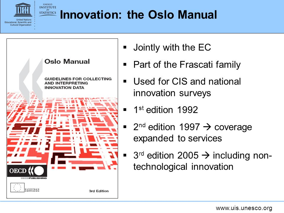 www.uis.unesco.org Innovation: the Oslo Manual Jointly with the EC Part of the Frascati family Used for CIS and national innovation surveys 1 st edition 1992 2 nd edition 1997 coverage expanded to services 3 rd edition 2005 including non- technological innovation
