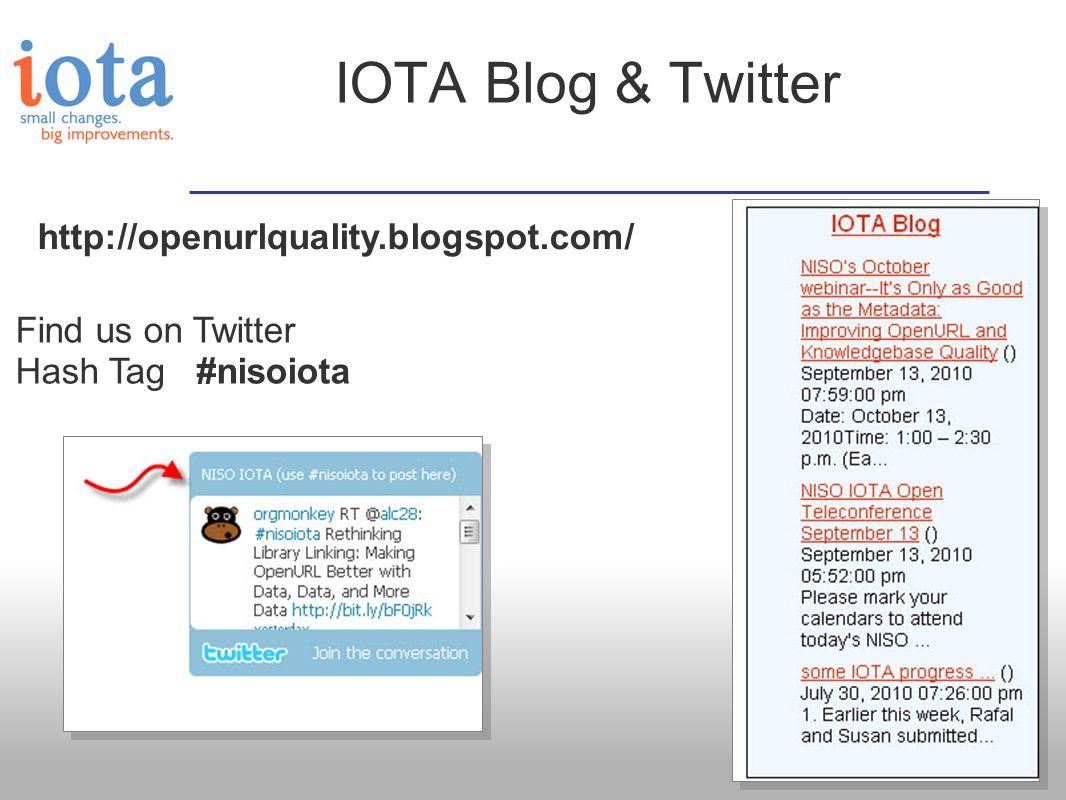 IOTA Blog & Twitter http://openurlquality.blogspot.com/ Find us on Twitter Hash Tag #nisoiota