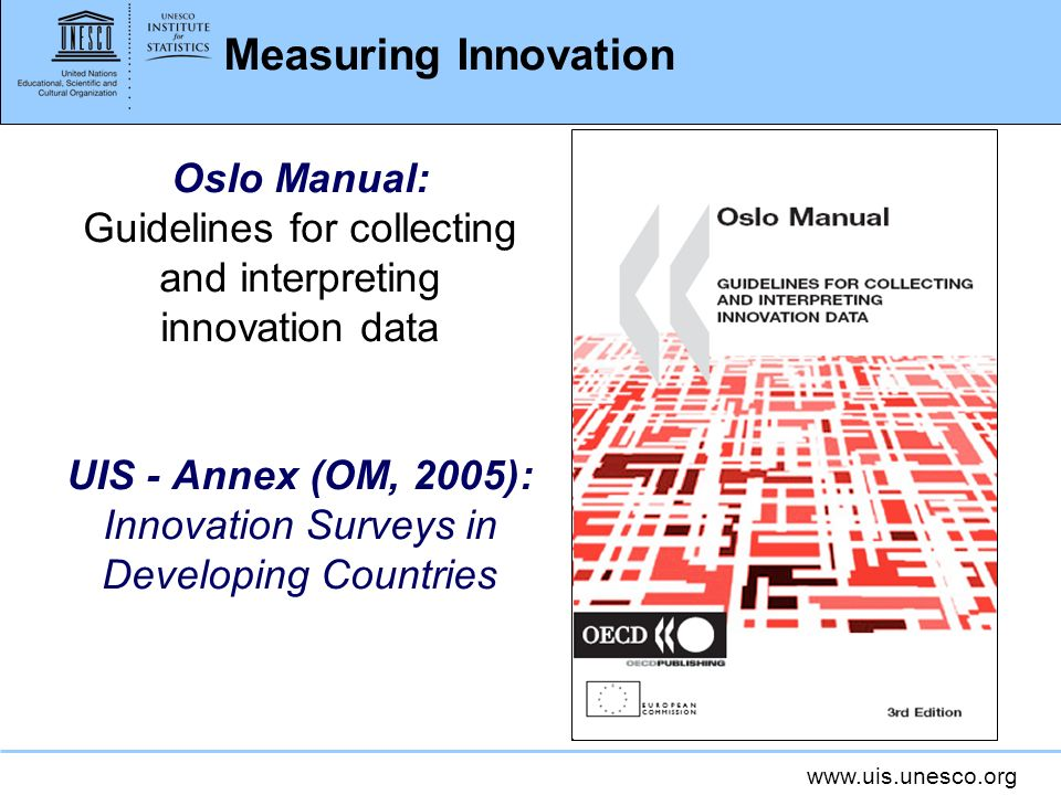 www.uis.unesco.org Measuring Innovation Oslo Manual: Guidelines for collecting and interpreting innovation data UIS - Annex (OM, 2005): Innovation Sur