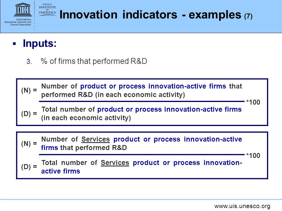 www.uis.unesco.org Innovation indicators - examples (7) Inputs: 3. % of firms that performed R&D (N) = Number of product or process innovation-active