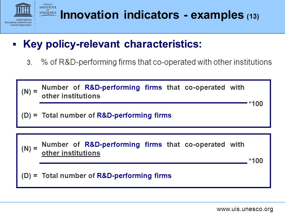 www.uis.unesco.org Innovation indicators - examples (13) Key policy-relevant characteristics: 3. % of R&D-performing firms that co-operated with other