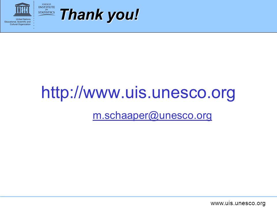 www.uis.unesco.org Thankyou! Thank you! http://www.uis.unesco.org m.schaaper@unesco.org