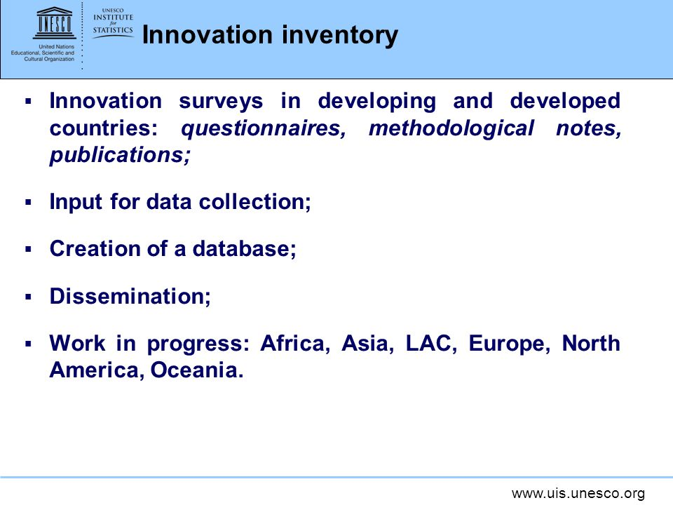 www.uis.unesco.org 2011 UIS pilot data collection Innovation activities: Firms with innovation activities (as a % of innovation-active manufacturing firms)
