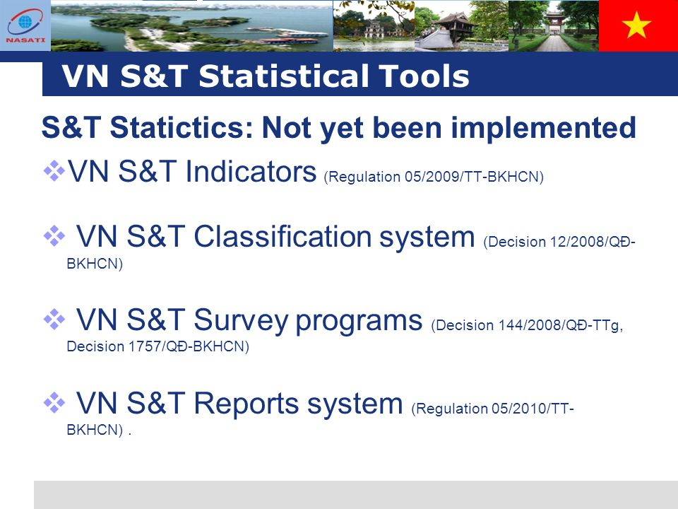 L o g o VN S&T Statistical Tools S&T Statictics: Not yet been implemented VN S&T Indicators (Regulation 05/2009/TT-BKHCN) VN S&T Classification system (Decision 12/2008/QĐ- BKHCN) VN S&T Survey programs (Decision 144/2008/QĐ-TTg, Decision 1757/QĐ-BKHCN) VN S&T Reports system (Regulation 05/2010/TT- BKHCN).