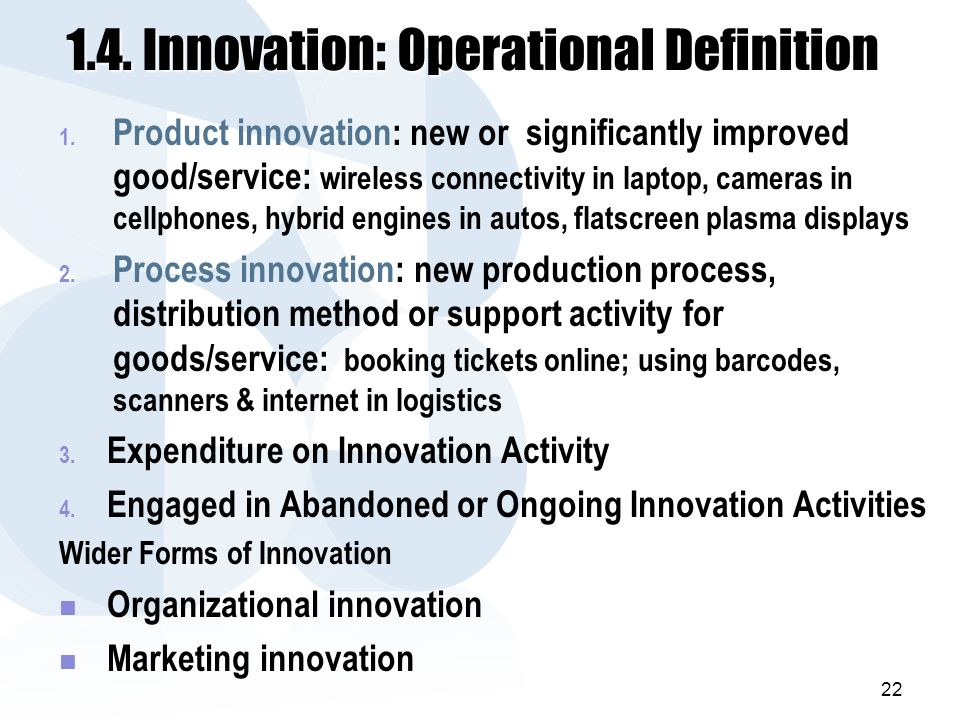 1.4. Innovation: Operational Definition 1.