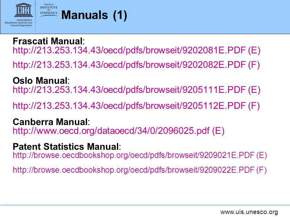 Manuals (1) Frascati Manual:   (E)   (F) Oslo Manual:   (E)   (F) Canberra Manual:   (E) Patent Statistics Manual:   (E)   (F)