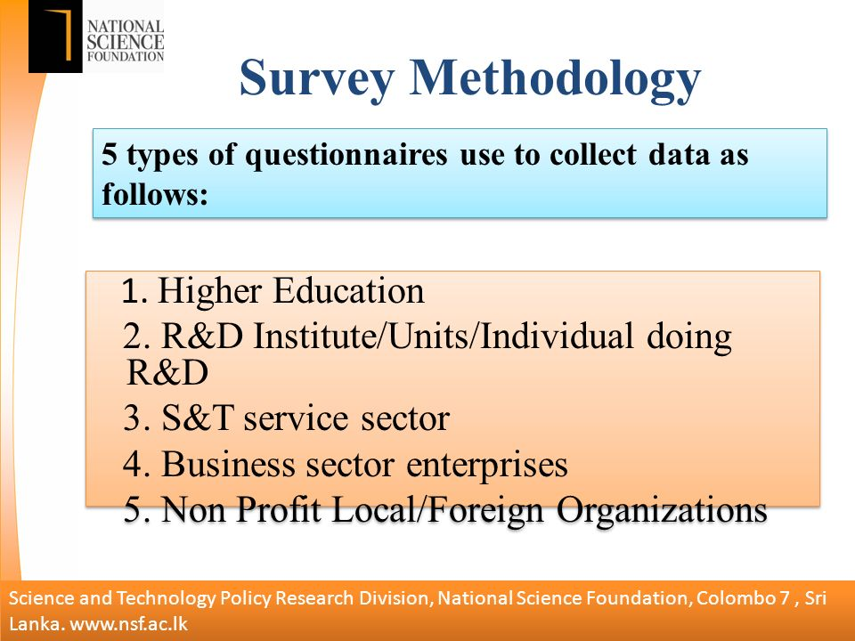 Survey Methodology 1. Higher Education 2. R&D Institute/Units/Individual doing R&D 3.