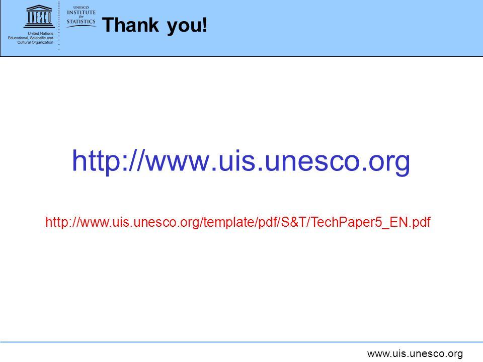 www.uis.unesco.org Thank you! http://www.uis.unesco.org http://www.uis.unesco.org/template/pdf/S&T/TechPaper5_EN.pdf