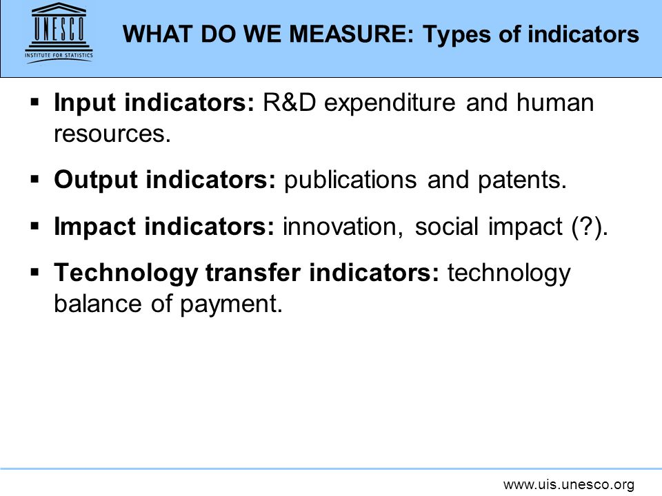 WHAT DO WE MEASURE: Types of indicators Input indicators: R&D expenditure and human resources.