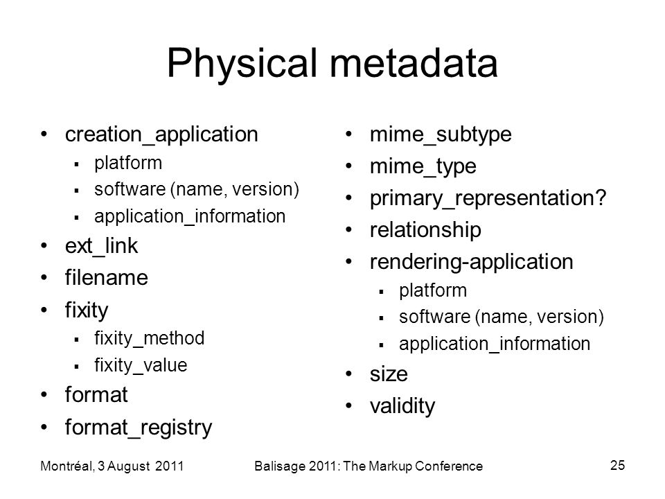 Physical metadata creation_application platform software (name, version) application_information ext_link filename fixity fixity_method fixity_value format format_registry mime_subtype mime_type primary_representation.