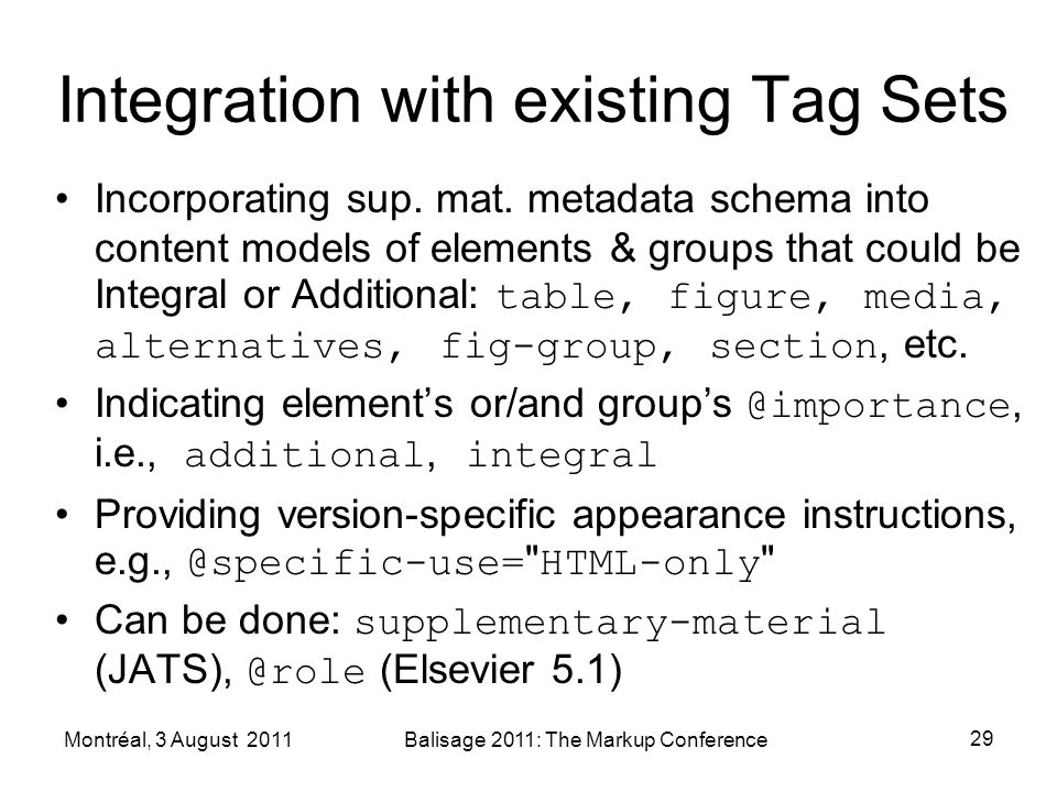 Integration with existing Tag Sets Incorporating sup. mat. metadata schema into content models of elements & groups that could be Integral or Addition