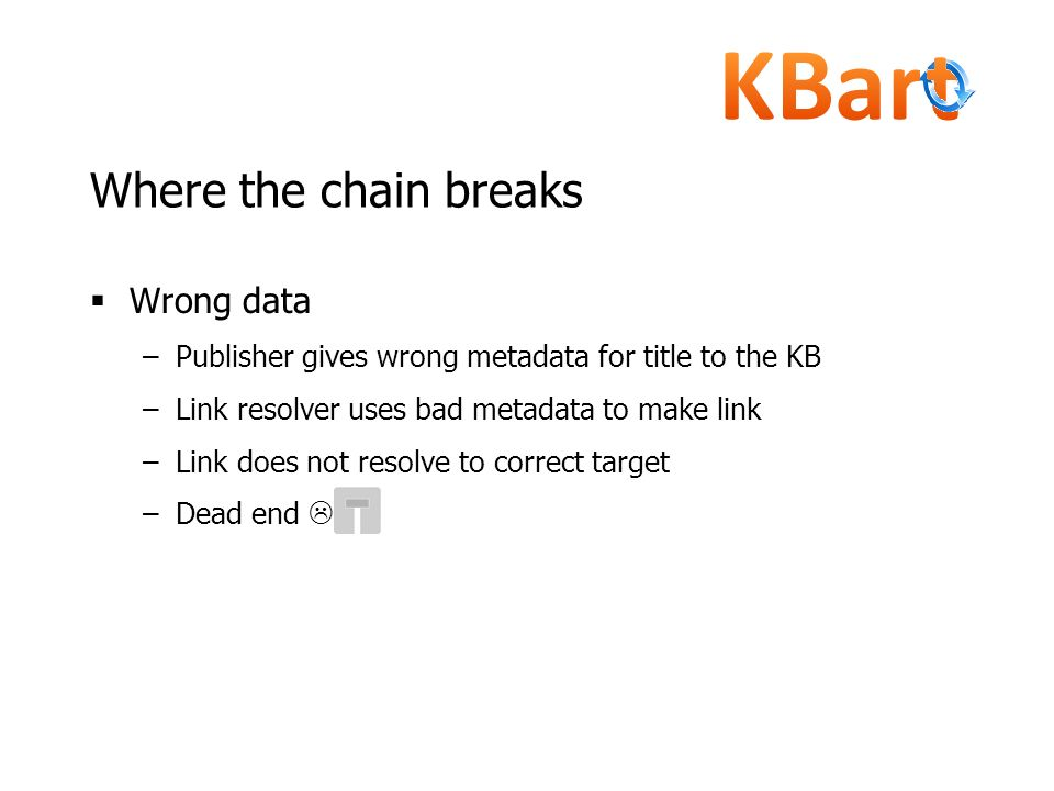 Where the chain breaks Wrong data –Publisher gives wrong metadata for title to the KB –Link resolver uses bad metadata to make link –Link does not res