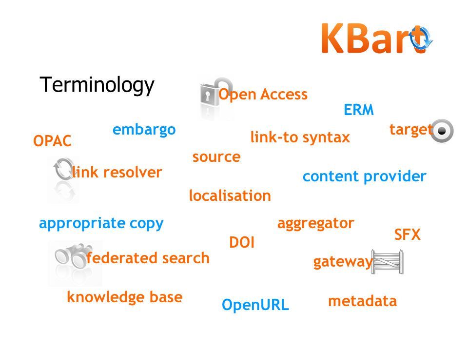 Terminology link resolver link-to syntax aggregatorappropriate copy content provider DOI embargo ERM federated search gateway knowledge base localisat