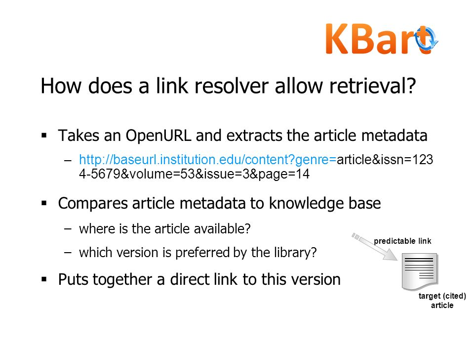 How does a link resolver allow retrieval? Takes an OpenURL and extracts the article metadata –http://baseurl.institution.edu/content?genre=article&iss