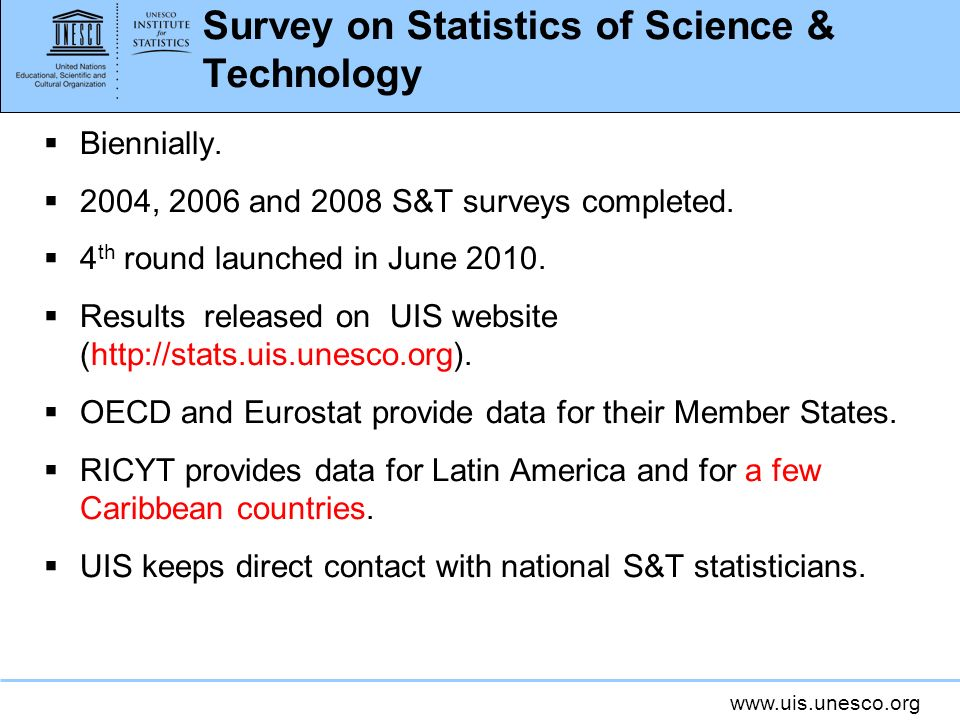 www.uis.unesco.org Survey on Statistics of Science & Technology Biennially.