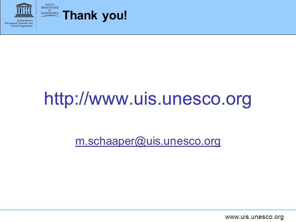 www.uis.unesco.org Thank you! http://www.uis.unesco.org m.schaaper@uis.unesco.org